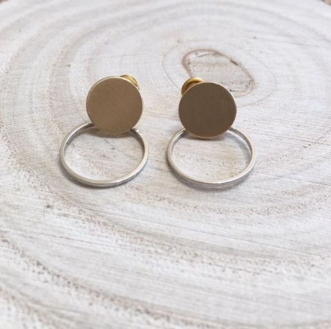 ANOUK HOOP GOLD AND SILVER STUD EARRING